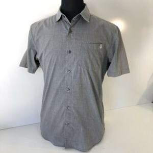 Volcom Button Down Skate Shirt Gray Small